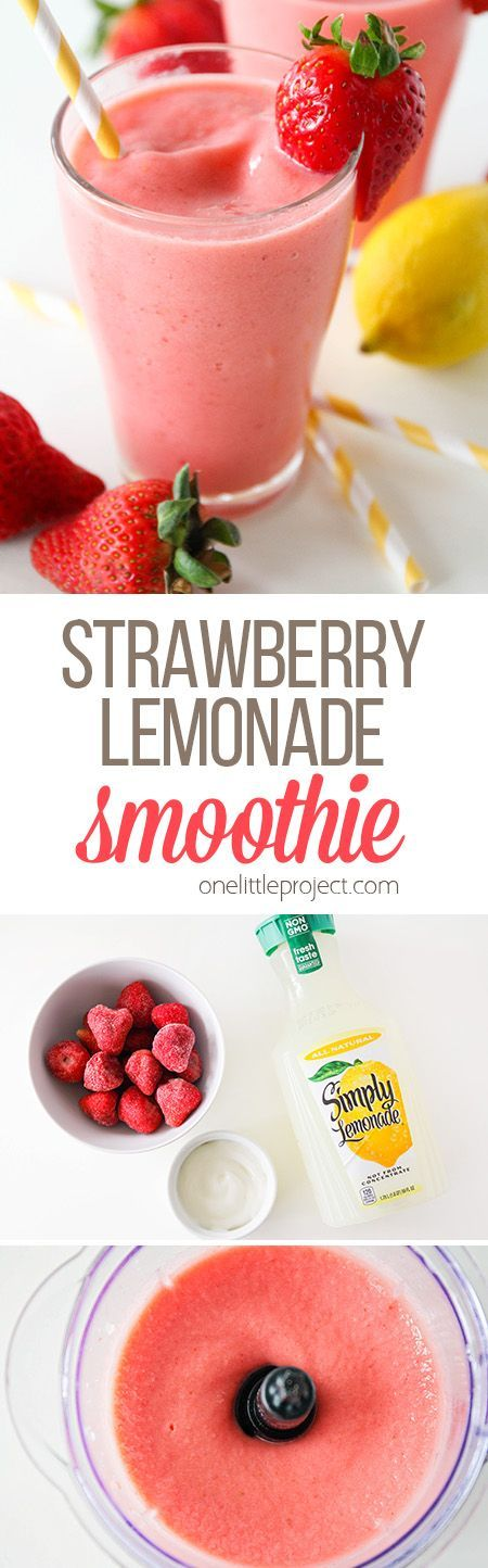 This delicious and refreshing strawberry lemonade smoothie has only three ingredients and is ready in less than five minutes!