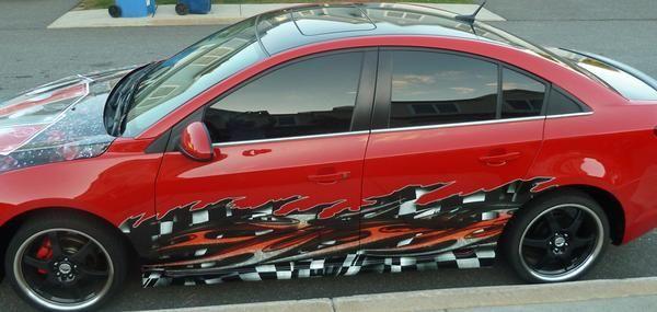 Tribal Checker flag Wave Vehicle Half Wraps