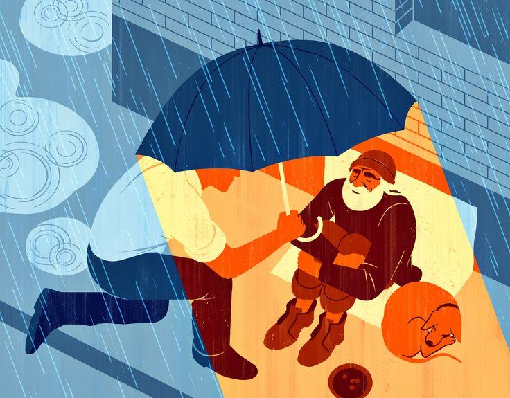 Joey Guidone - How doing good can help you doing better. Editorial, Surrealism, Pop Surrealism, Conceptual, Design, Poster,  Donate, Generosity, Altruism, Kindness, Philanthropy, Volunteering, Needy, Homeless, Street, Rain