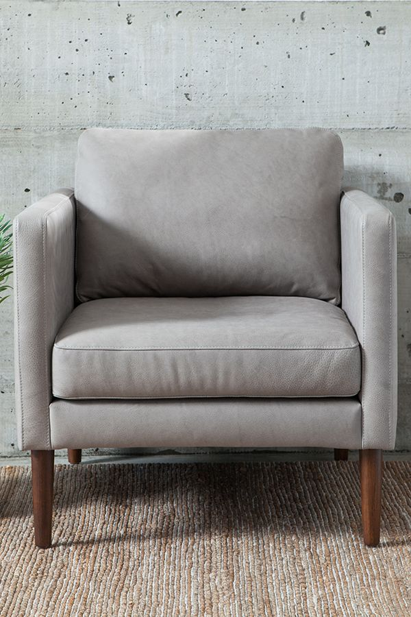 Gray Leather Chair With Solid Wood Legs   Article Echo Modern Furniture