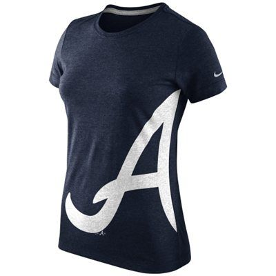 Nike Atlanta Braves Ladies Balt Tri-Blend T-Shirt - Navy Blue