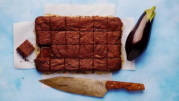 Better than you'd expect! Used a few extra dates, diced v small. Dice a young seedless eggplant v finely and steam in deep microwave dish, wo water, with the salt. Hand blender works. Dust with icing sugar. ## Chocolate eggplant brownies | Gut health, Michael Mosley | SBS Food