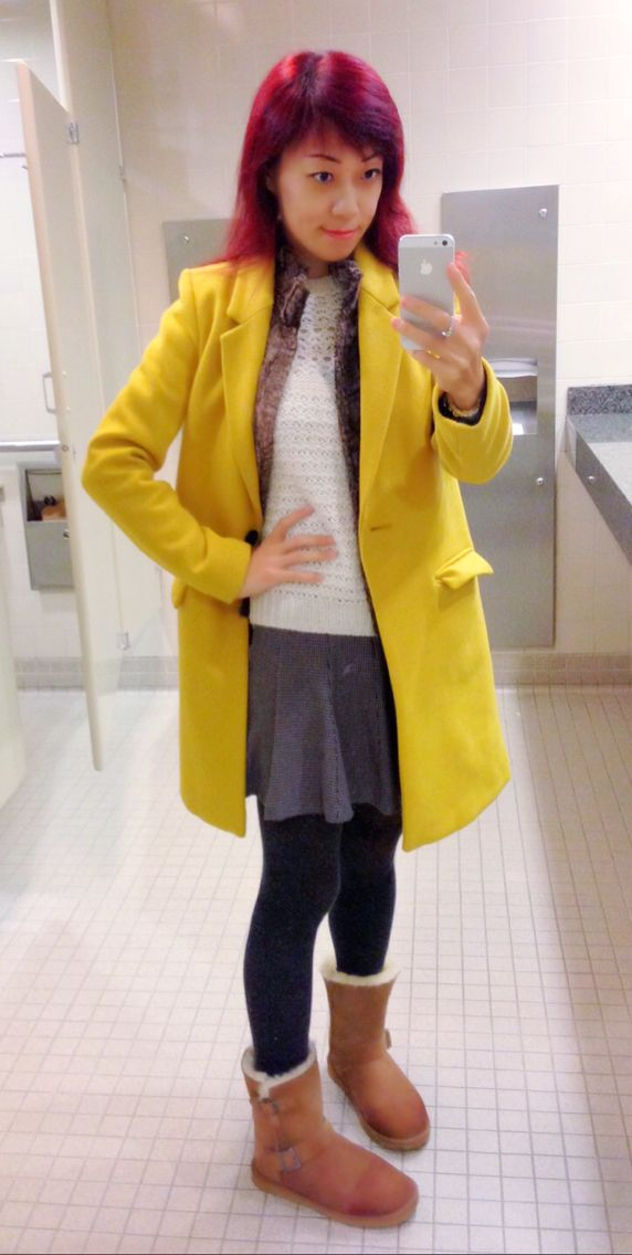 Zara yellow wool coat, Zara short skirt, UGG boots, ready for Spring