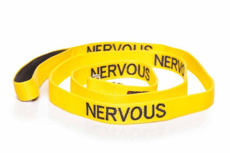 Yellow NERVOUS long lead/leash is 180cm (6ft)   Luxury padded neoprene handle for extra comfort.