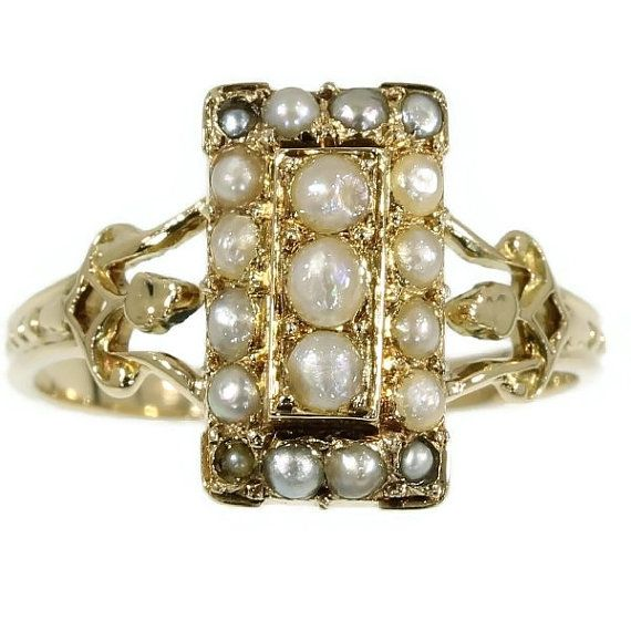Victorian gold and pearl ring c.1880 by adinantiquejewellery