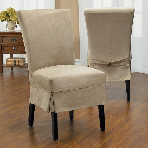 Dining Room Armchair Slipcovers: QuickCover Luxury Suede Mid Pleat Relaxed Fit Dining Chair