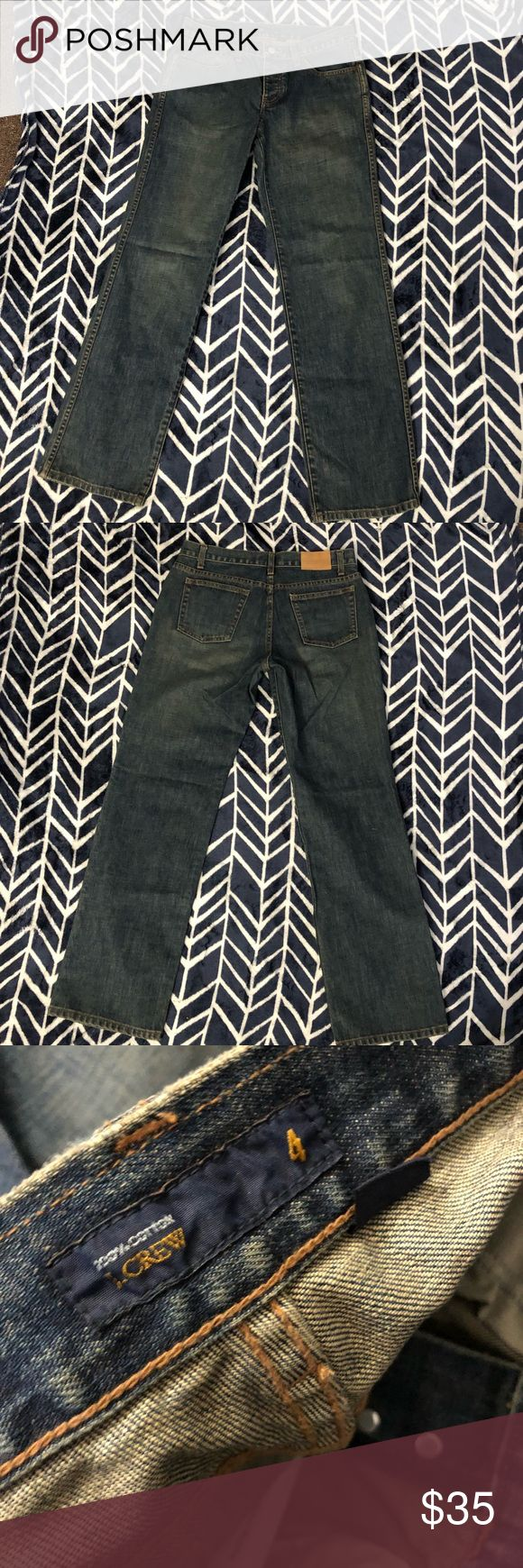 "J. Crew button-fly Jeans Woman's size 4 j. Crew button-fly Jeans. Very light wear. Factory darkened with brown in places. To pilling, holes or stains. The waist measures 15 1/2"" flat across, the rise is 8 1/2"" and the inseam is 32"". J. Crew Jeans"
