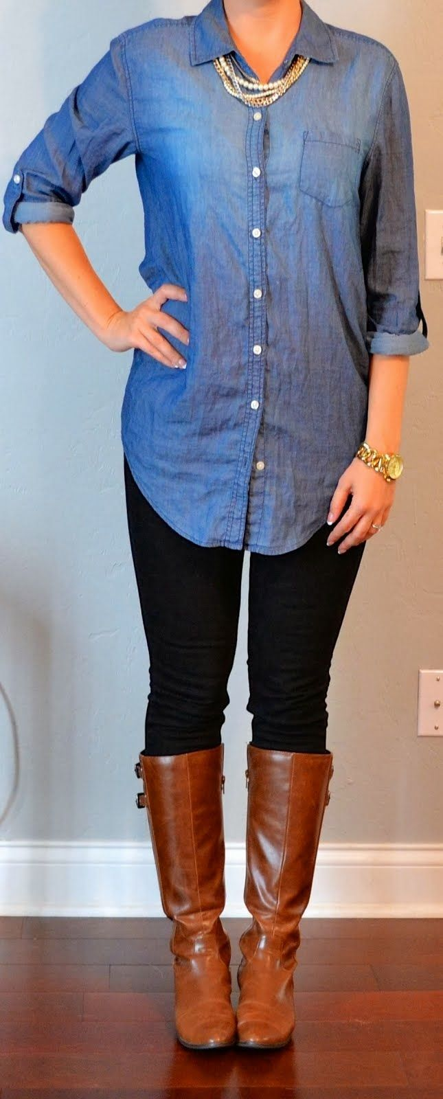 Chambray shirt is a must have for fall, but I need one without all the buttons, my boobs don't like to cooperate in button downs