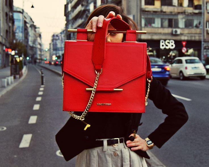 Ferrari Red leather bag.