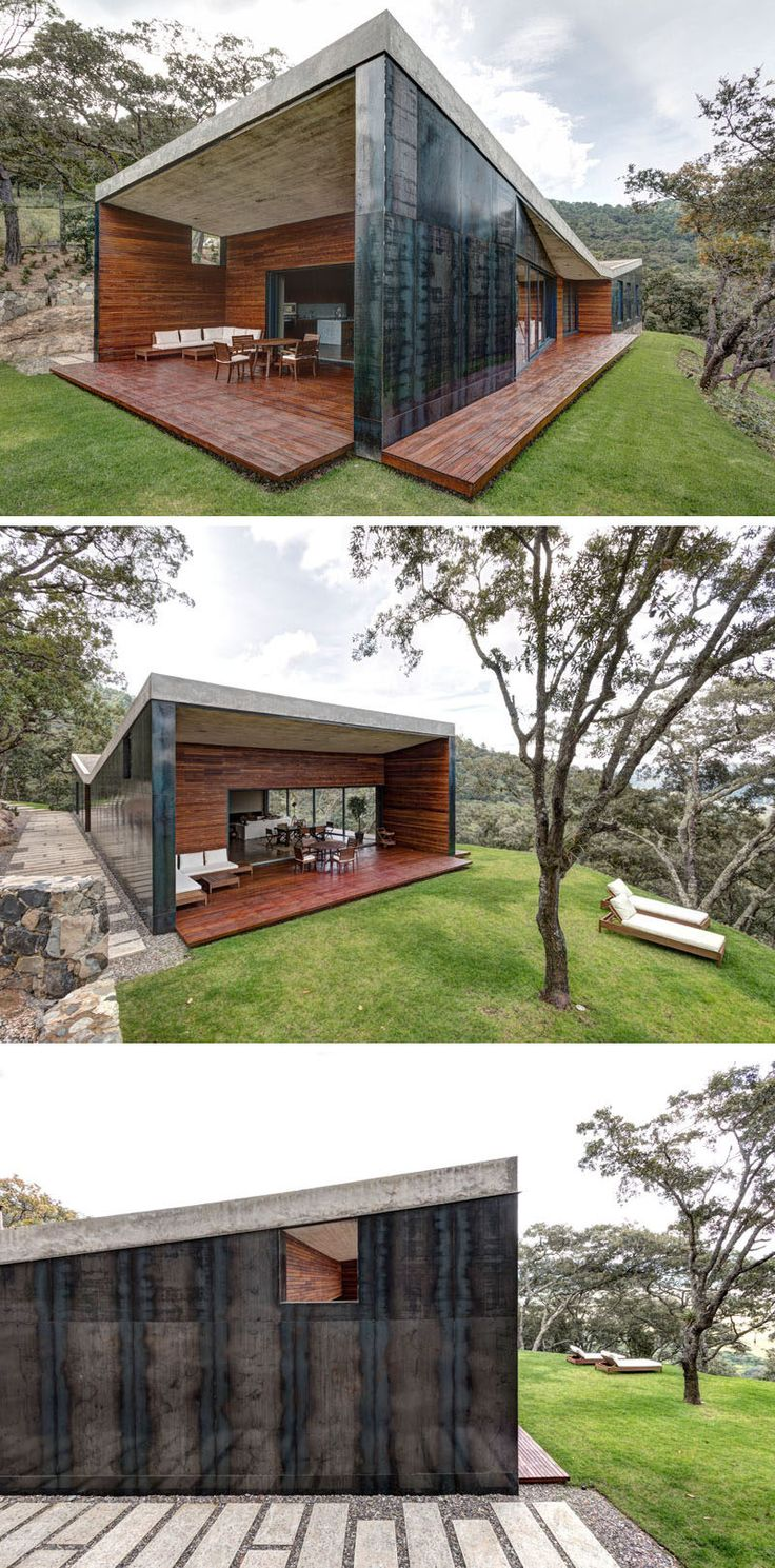 Elías Rizo Arquitectos have designed this modern house covered in steel, concrete and wood, for a middle-aged bachelor who wanted to build a weekend house in the forest.