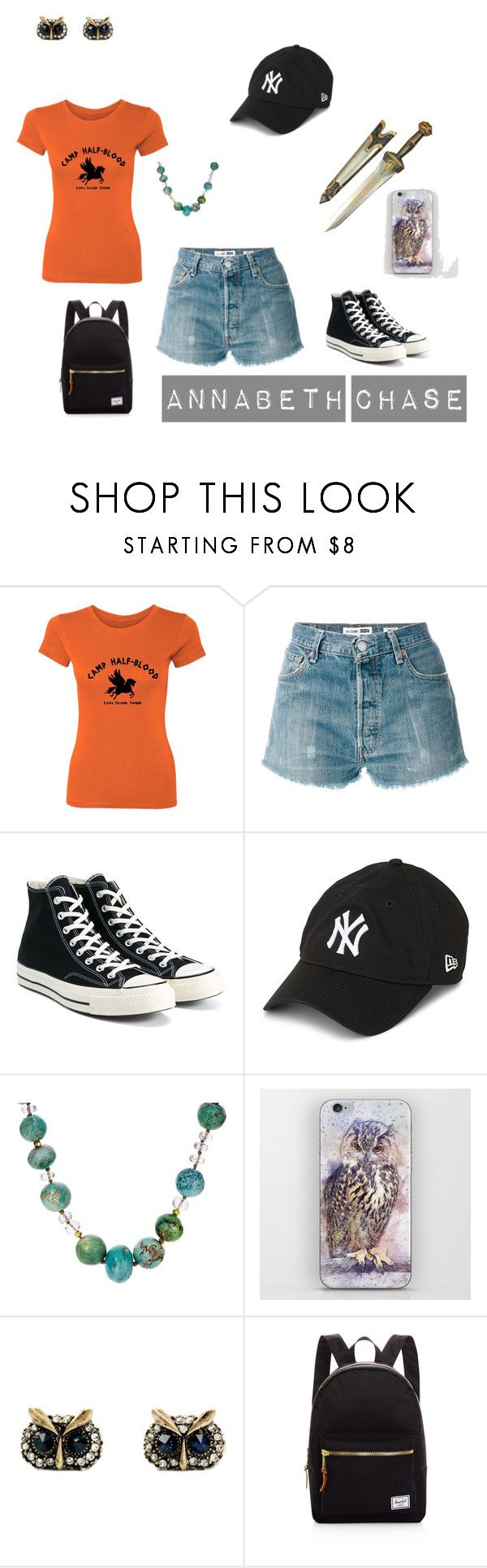 """""""Annabeth Chase"""" by louisahammond ❤ liked on Polyvore featuring RE/DONE, Converse, New Era, Lena Skadegard and Herschel Supply Co."""