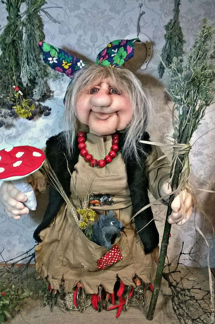Купить баба-яга - кремовый, баба яга, интерьерная кукла, талисман амулет оберег