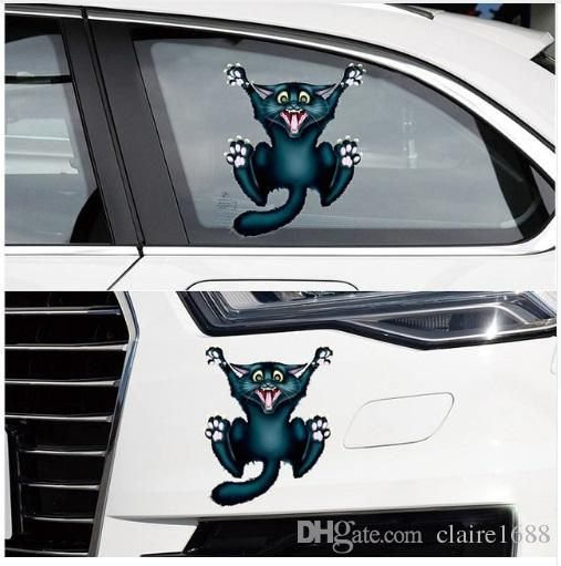 17cm*13.5cm Auto Motorcycle Sticker 3D Crazy Cat Car- styling Car Stickers and Decals Car Window Decor Body Decoration - $6.99
