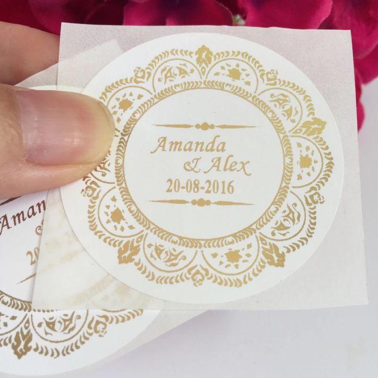 90x Customised vintage wedding stickers.