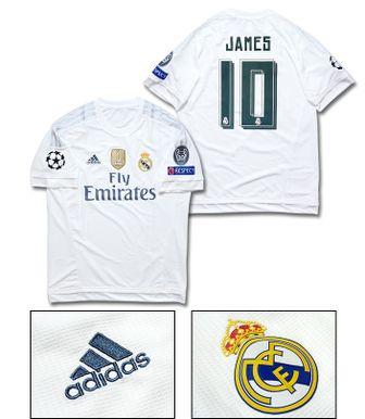 【No.10 JAMES】 adidas 15/16 レアルマドリード UCL ホーム 半袖 フルマーキング ユニフォーム