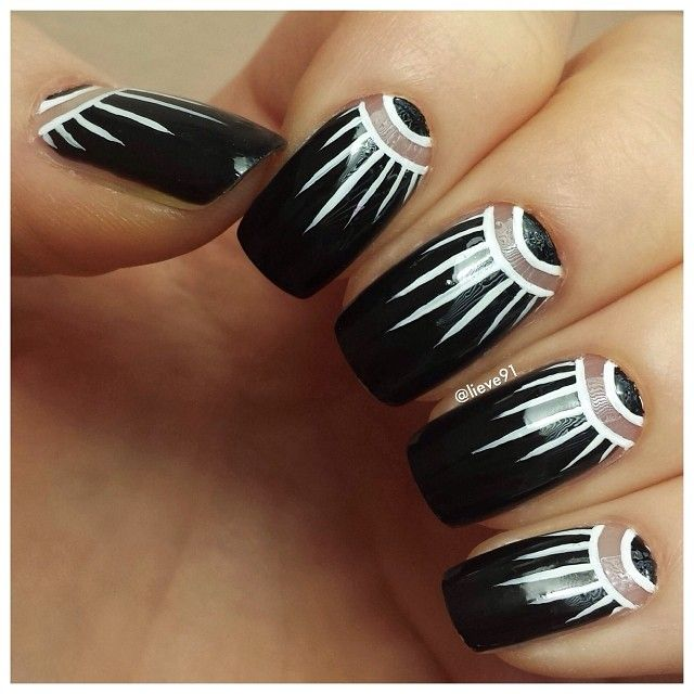 Instagram photo by lieve91. Half moon nail art with stripes