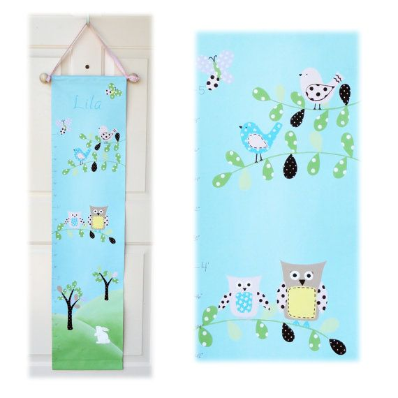 Pastel Woodland Canvas Growth Chart Childrens Art by rkbrushworks, $78.00