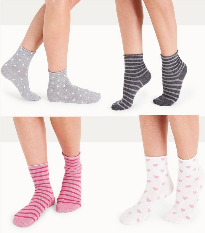 Z2018  4 Pack Pink Glitter And Stripe Socks | New Look