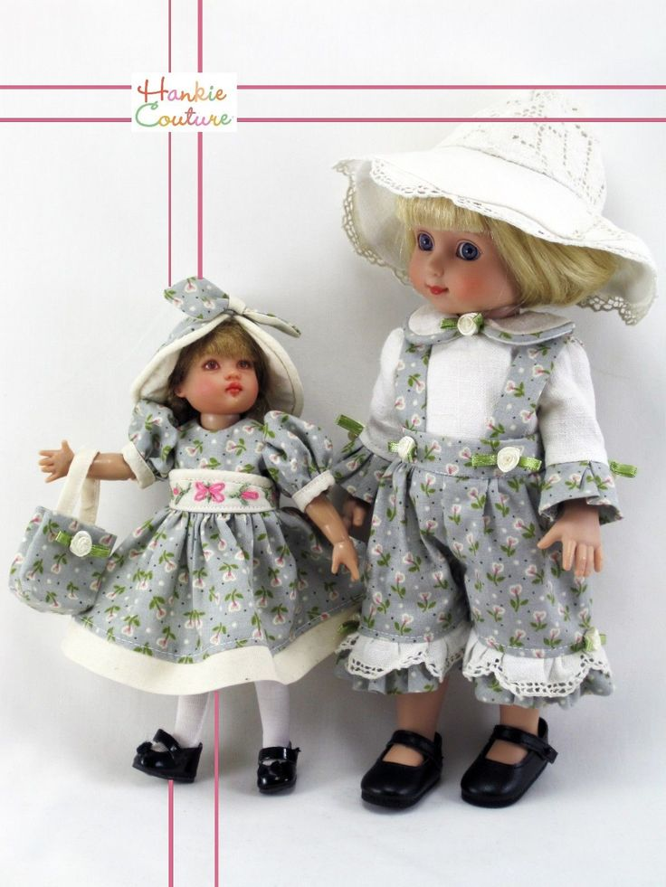Doll friends!!!  7.5-inch Riley Kish is shown here with 10-inch Ann Estelle by Tonner.  Outfits made from new, 100% cotton fabric of delicate flowers with bright pink centers.  By Hankie Couture, on eBay #HankieCouture #doll #Riley #Kish #repaint #handmade ♡ November 2014