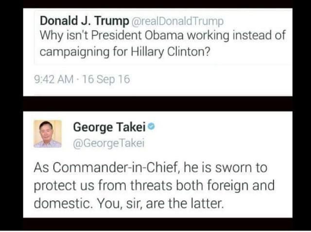 A roundup of must-see memes lampooning Donald Trump, Hillary Clinton, and the failed presidential candidates.: George Takei on Trump