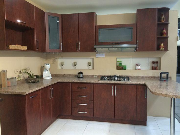 Cocina postformada color caoba cocinas fabricadas por for Cocinas integrales rusticas