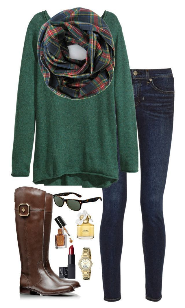 """plaid scarf"" by kaley-ii liked on Polyvore featuring rag & bone, H&M, Tory Burch, Ray-Ban, Marc Jacobs, Bobbi Brown Cosmetics, Kate Spade and NARS Cosmetics"