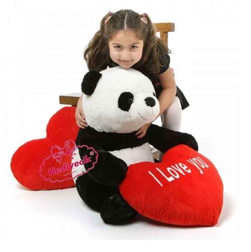Peluş panda Büyük Kalp Yastıklı Sevdiklerinize Online Hediye Gönderimi