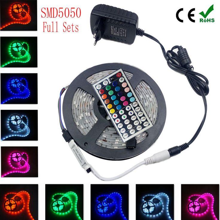 4 M 5 M 8 M 5050 RGB conduziu a tira de fita levou fita RGB diodo lampada ac dc 12 V levou luz tiras de alimentação + IR controlador rgb conjunto completo