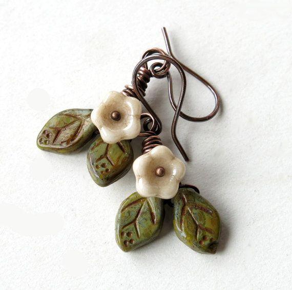 White flower earrings Czech glass beads green by dalystudios