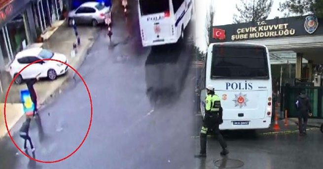 Two women opened fire and threw a grenade at a Turkish police bus as it arrived at a station in an Istanbul suburb on Thursday, footage from the Dogan news agency showed. Television stations said there were no casualties.