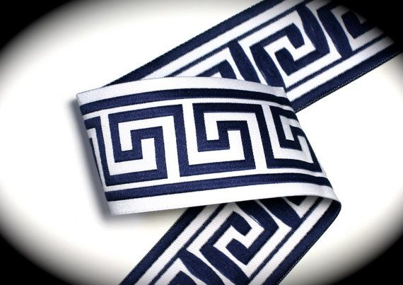 "Woven Jacquard Ribbon Greek Key Trim - 1 7/8"" x 1 yard Navy Blue and White - Just Arrived"