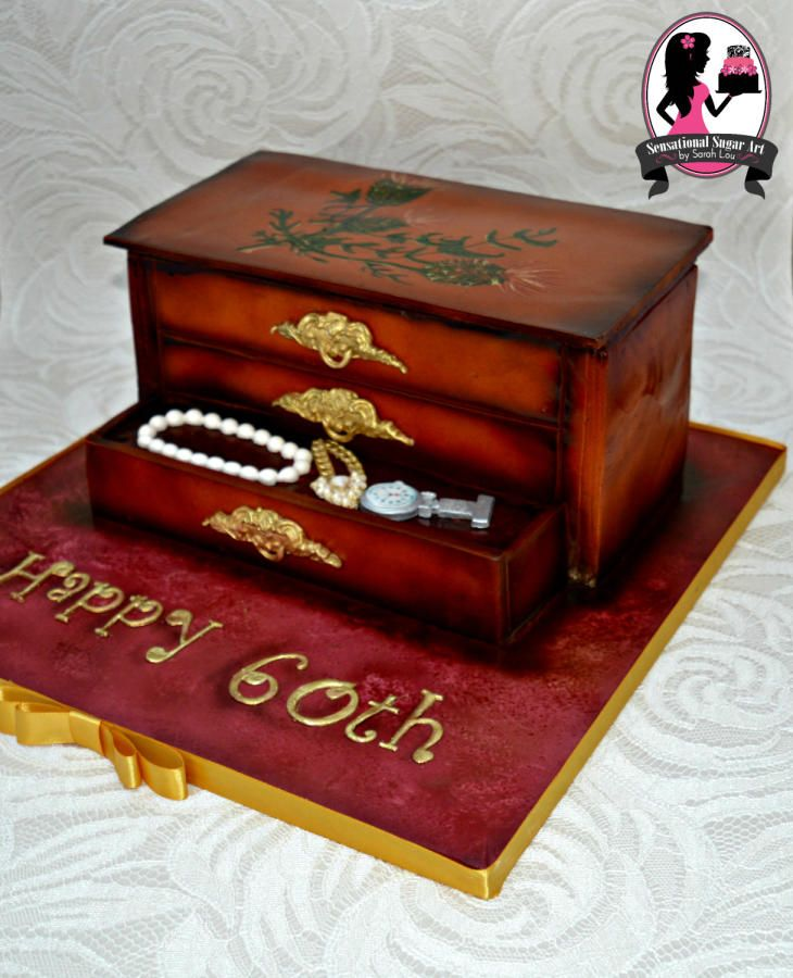 Wooden Jewellery Box Cake  by Sensational Sugar Art by Sarah Lou