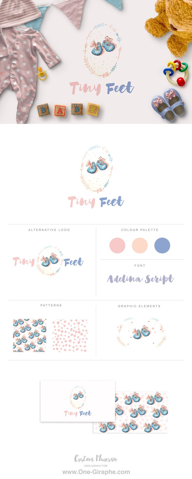 Tiny Feet for sale! www.One-Giraphe.com #logo #logodesign #baby #sweet #cute #logos #graphic #etsy #behance #sale #logostore #designer