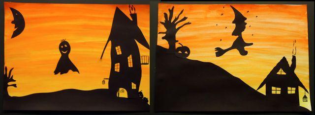 Das Halloween-Schattenbild http://www.klassenkunst.com/2014/09/basteln-im-herbst.html