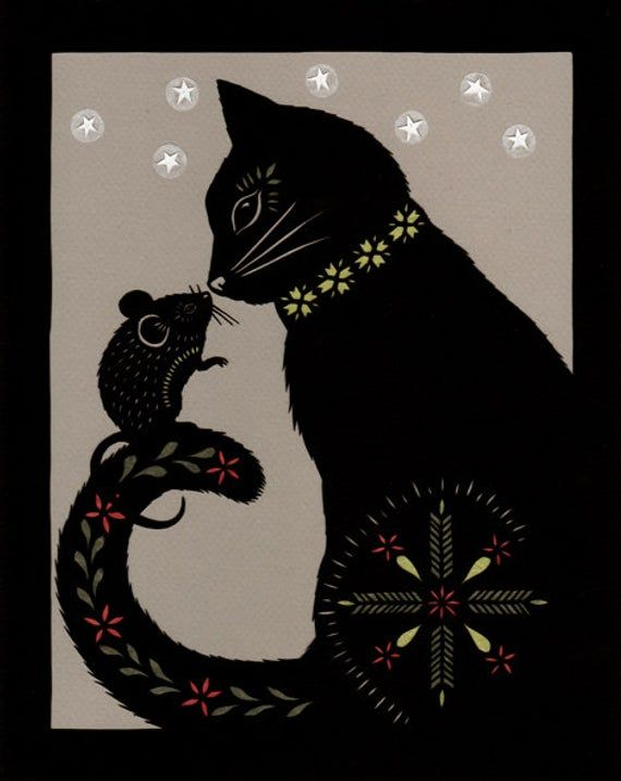 Cat & Mouse In Partnership – Lámina de papel cortado de 8 X 10 pulgadas