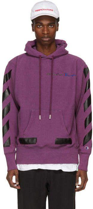 12c0cd42438c Off-White Purple Champion Reverse Weave Edition Hoodie  ssense  purple   purpleoutfits  outfits  affiliate  afflink