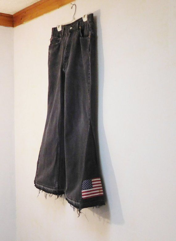 d7a4e640d37 Mens Levis 517 Black Bell Bottom Jeans American Flag Peace Sign Patches  Patchwork Bellbottoms 36 x 31 1 2 Hippie Biker Boho Bohemian Cowgirl