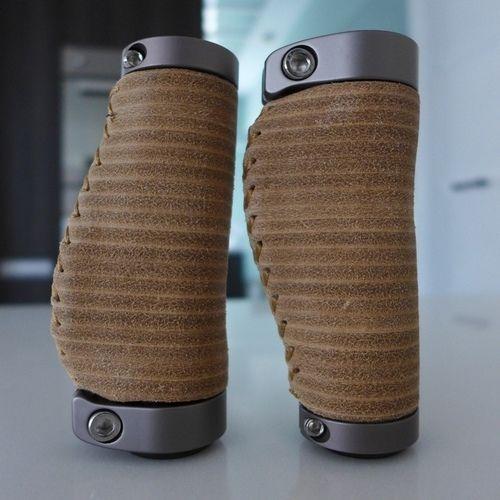 MiniMODs Short version leather grips (Ergonomic) for Brompton M bar