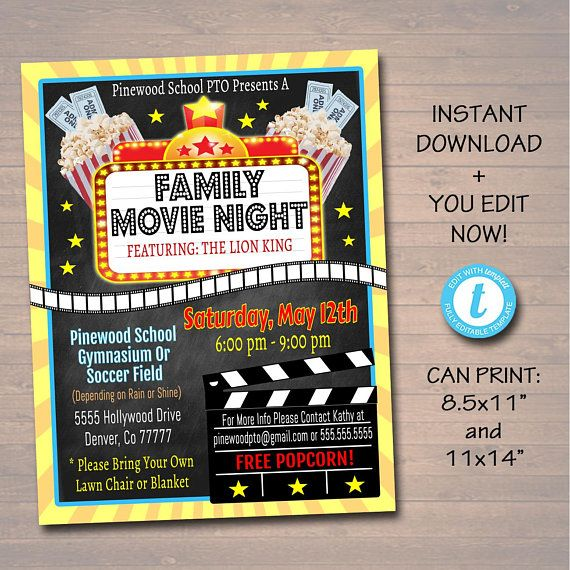 editable movie night flyer  printable pta pto flyer