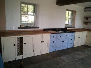 Dacre Banks Large Kitchen With Matching Coloured Aga And Sink Units Wooden Worktops Cream Base