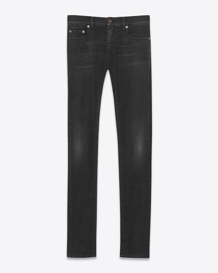 Saint Laurent Jean Skinny à Taille Basse En Denim Stretch Noir Légèrement Usé | YSL.com