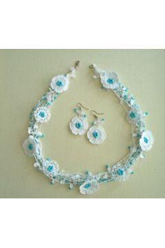 Mavi Beyaz Elişi Çiçekli Kolye #modasto #giyim #moda https://modasto.com/ultrangelica21/kadin/br5979ct2
