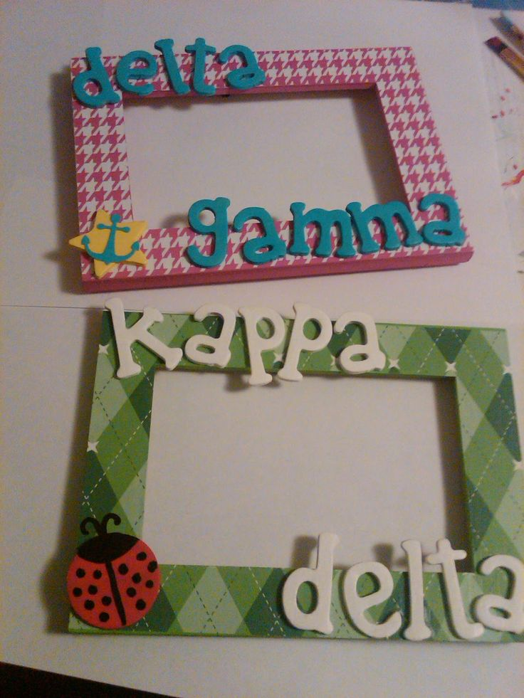 Picture frames. Sorority crafting ideas!