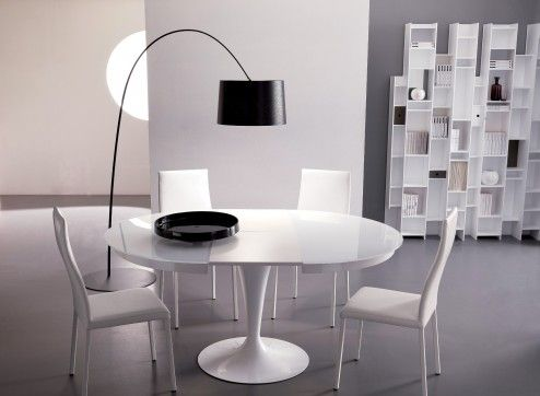 Furniture, Awesome Modern Stylish White Expandable Tulip Dining Room Table As White Expandable Tulip Table With White Side Chairs Design Ideas ~ Vintage Expandable Round Dining Table Adding More Elegance
