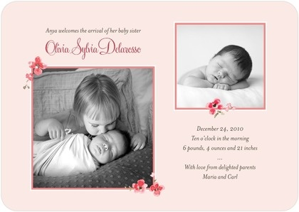 big sister announces arrival of baby sister announcement newborn baby infant holiday Christmas card