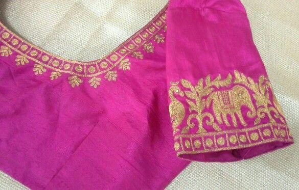 Rawsilk blouse with maggam work 91 9866583602 whatsapp no 7702919644