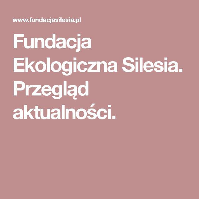 Fundacja Ekologiczna Silesia. Przegląd aktualności.
