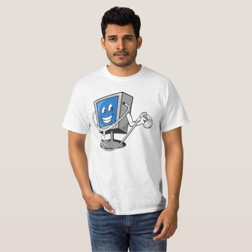 Computer TV Monitor With Doctor Stethoscope T-Shirt. Men's t-shirt with an illustration of computer monitor using a stethoscope done in cartoon style. #stethoscope #computermonitor #tshirt