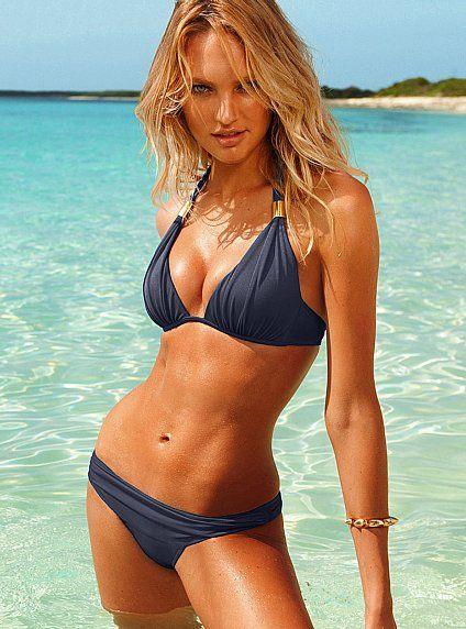 .Summer Bath Suits, Victoria Secret Swimsuits, White Bikinis, Bathing Suits, Halter Tops, Candice Swanepoel, Cobalt Blue, Colors Blue, Beach