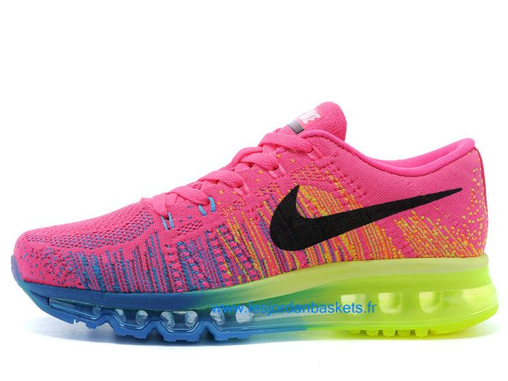 Officiel Nike Flyknit Air Max GS - Women´s Nike Running Shoes Pink/Black/Yellow/Blue
